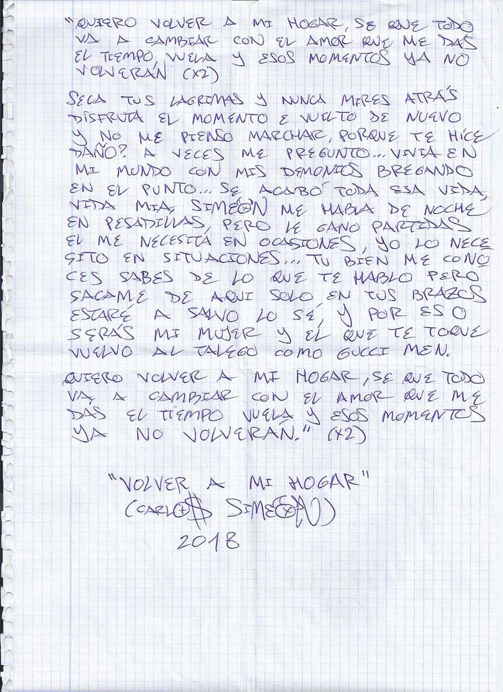 """Copia manuscrita por el autor de la canción """"Volver a mi hogar"""" escrita el 3 de Julio de 2018 en la prisión de Campos del Río por el Rapero Murciano SIMEON."""