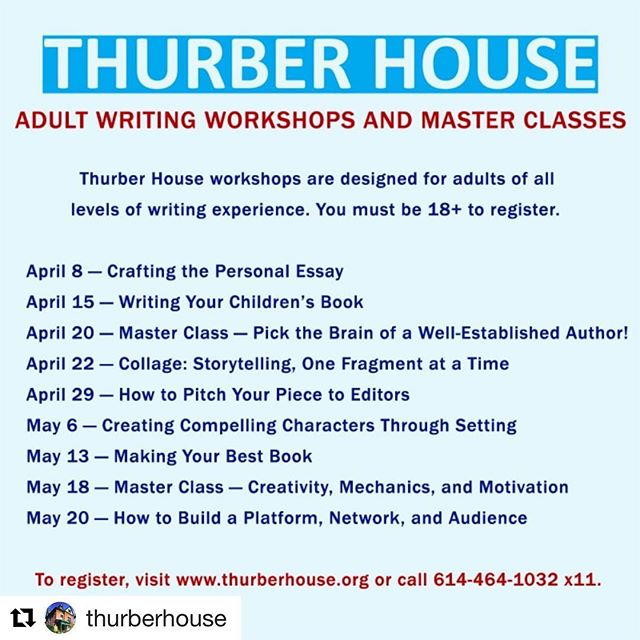 Adult writing classes are open for registration at the #historical @thurberhouse in the #discoverydistrictcbus. Visit the link in their bio or url in the image for more info! #writing #jamesthurber #thingstodoincolumbus