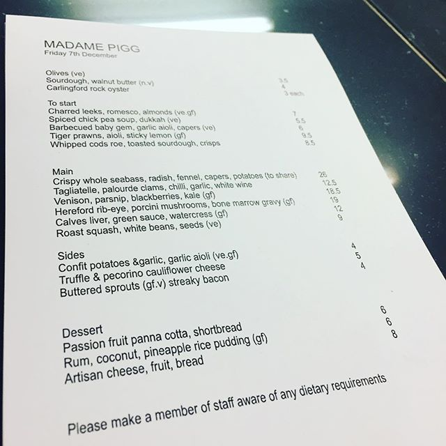 Tonight's menu looks tastyyyyyyy @adam.hardiman defo get on the venison, and the prawns, and the clams and the cods roe, and then finish off with a wobbly panna cotta #tfif #friyay #kingslandroad #newopenings #shoreditchrestaurants #dalston