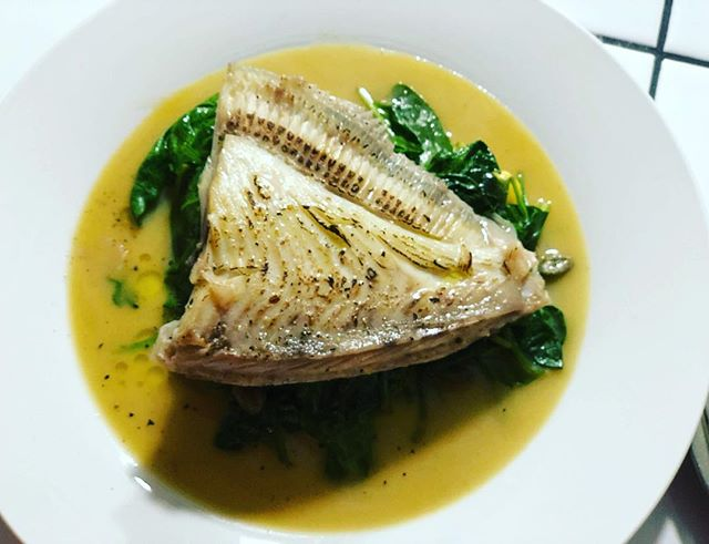 Turbot cooked on the bone, king of the sea, one of our favourite fishes to have on the menu from @finandflounder #fish #newopening #neighbourhoodrestaurant #saturdaylunchdinner #turbot
