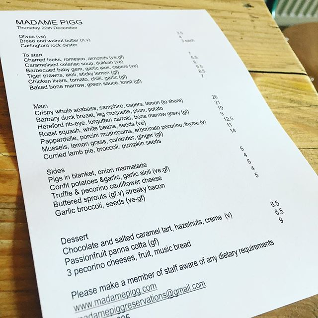 Tonight's menu, walk ins available, see you tonight for oysters, bone marrow, duck and a tart #xmas #thursdaydinner #menu #oysters #bonemarrow #duck #newopenings #kingslandroad