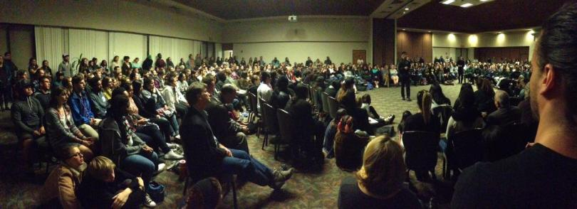 """""""Hundreds of students and many faculty members attend a racial awareness forum at the University of Redlands on Wednesday, Nov. 18."""" - By   IMRAN GHORI   