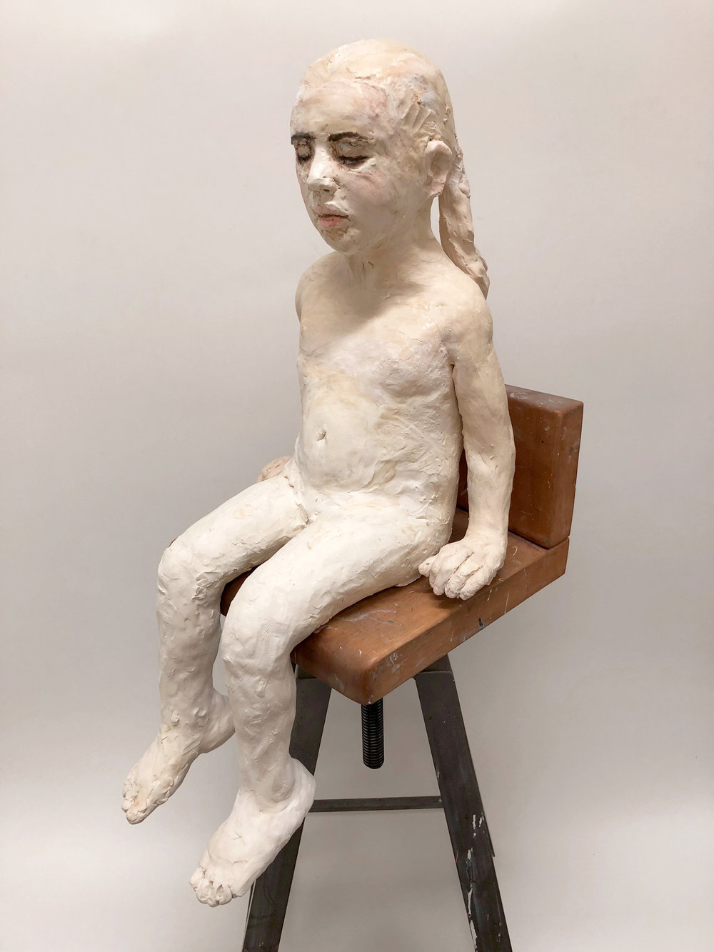 Untitled, (Girl on Stool), 2018, Ceramic, 29 1/2 x 15 x 15 in.