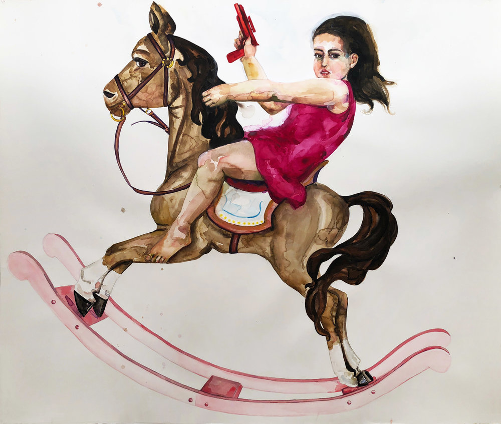 Girly Horse, 2012, Watercolor on paper, 52 x 60 in.