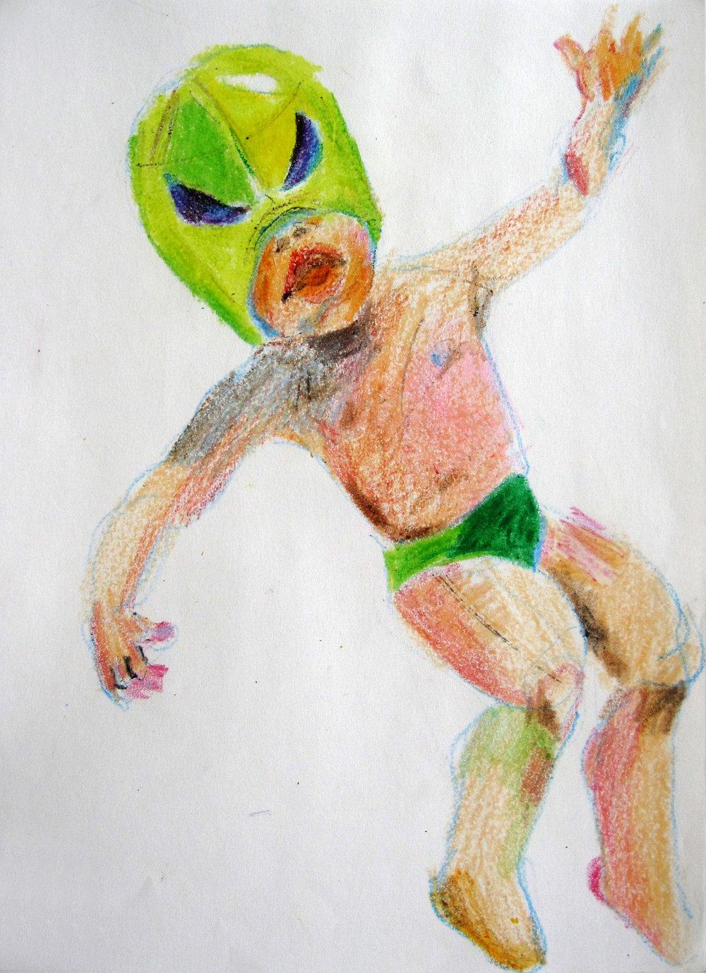 Lucha 9, 2008, Crayon on paper, 14 X11 in.