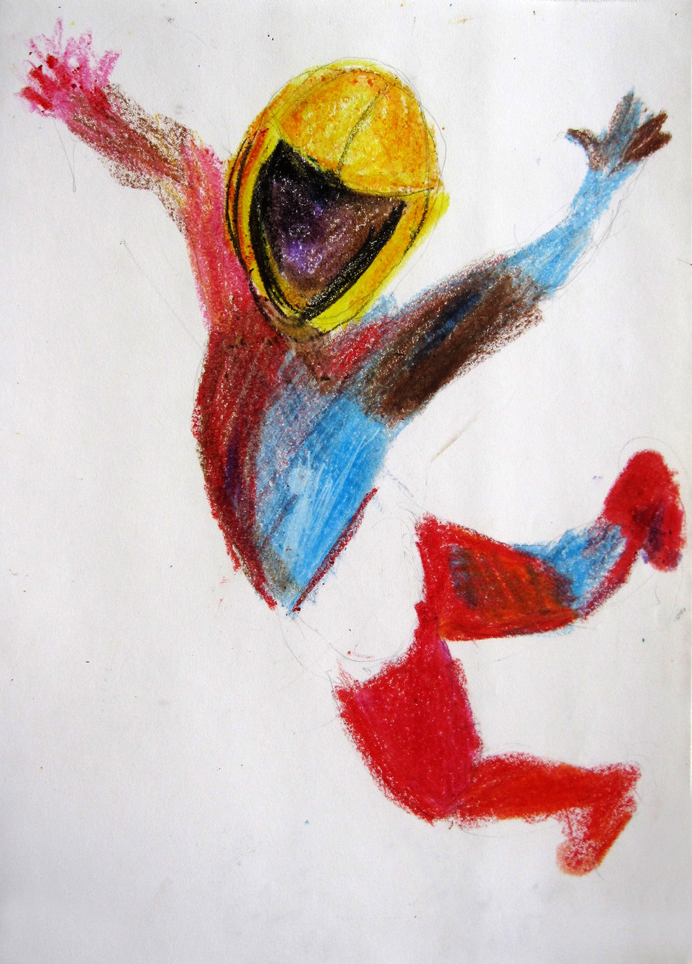 Lucha 10, 2008, Crayon on paper, 14 X11 in.