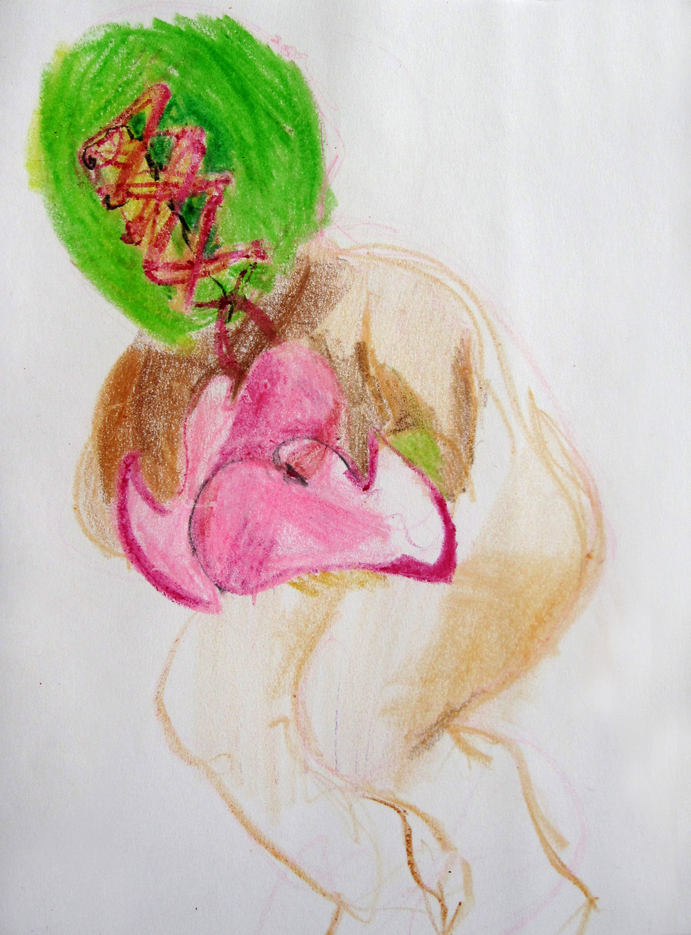 Lucha 13, 2008, Crayon on paper, 14 X11 in.