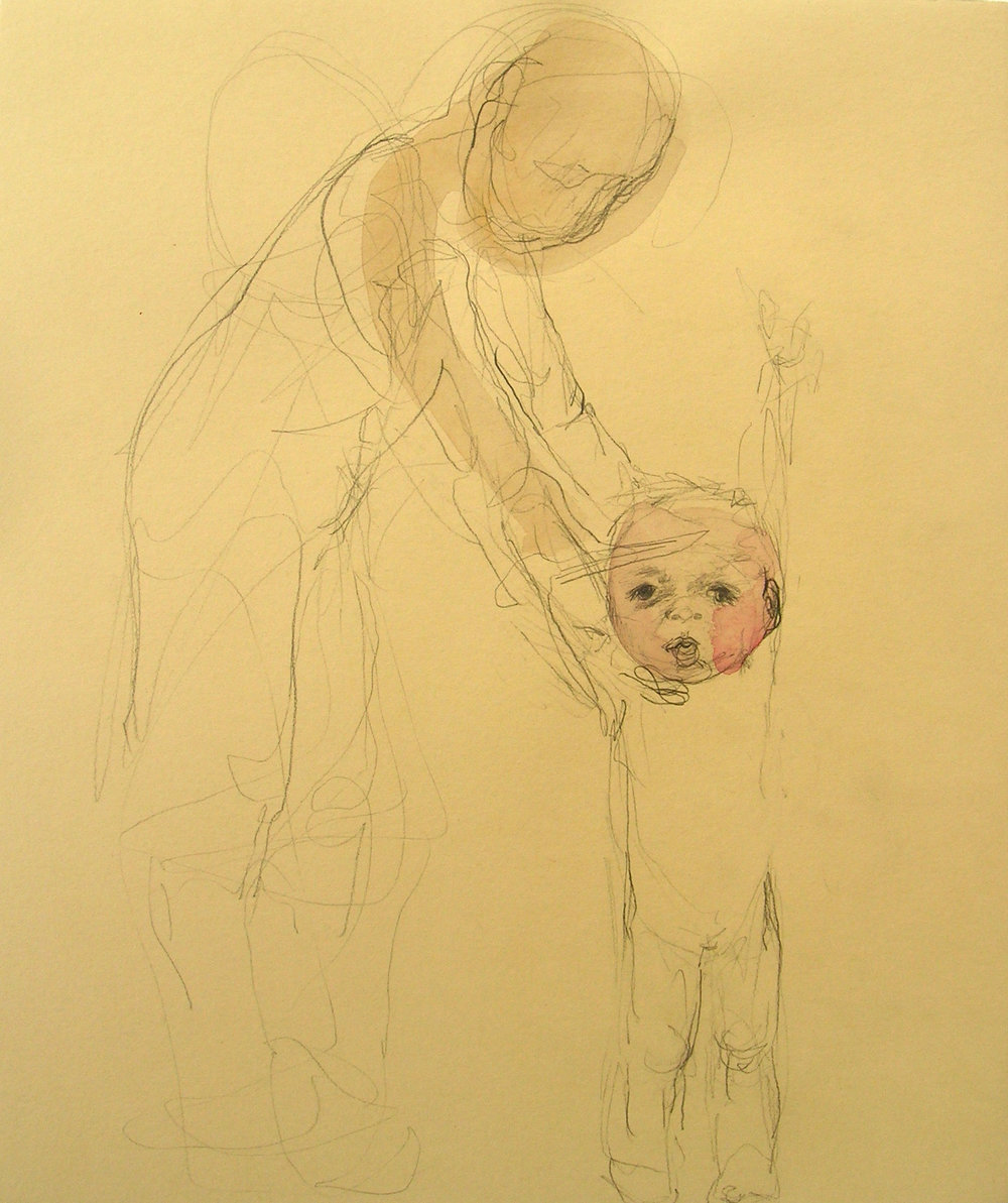 Sentencia (Boy and Dad), 2007, Graphite and watercolor on paper, 14 X 13 in.