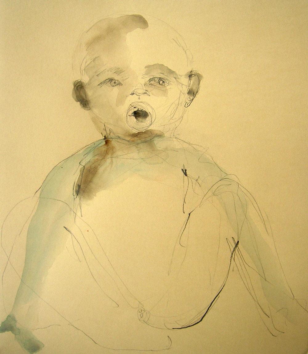 Sentencia, 2007, Graphite and watercolor on paper, 14 X 13 in.