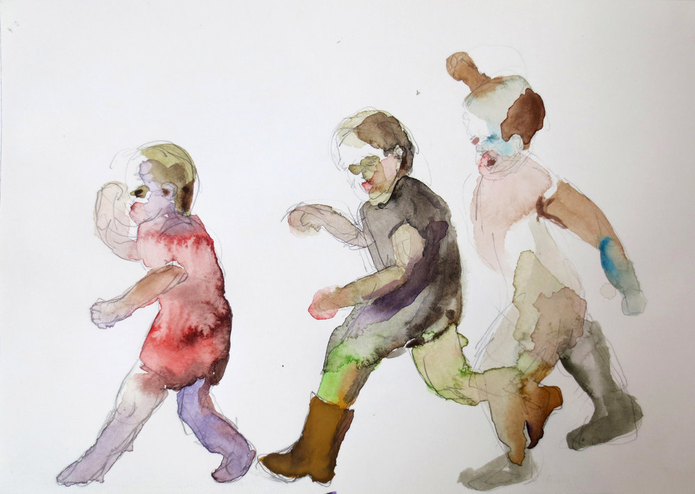 Kids Fighting, 2011, Graphite and watercolor on paper, 7 X 10 in.
