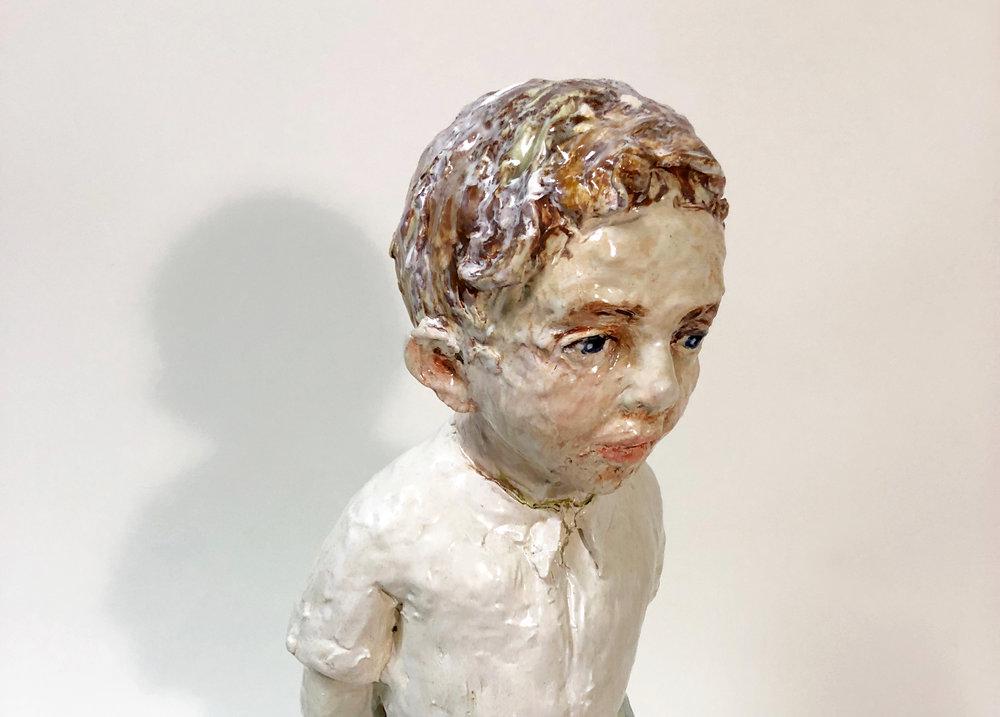Boy Looking (detail), 2018, Glazed ceramic, 27 x 11 x 10 in.