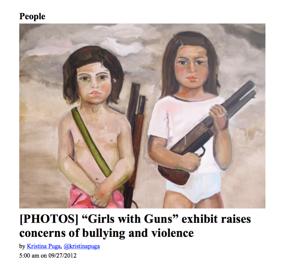 """Girls with Guns"" exhibit raises concerns of bullying and violence by Kristina Puga"