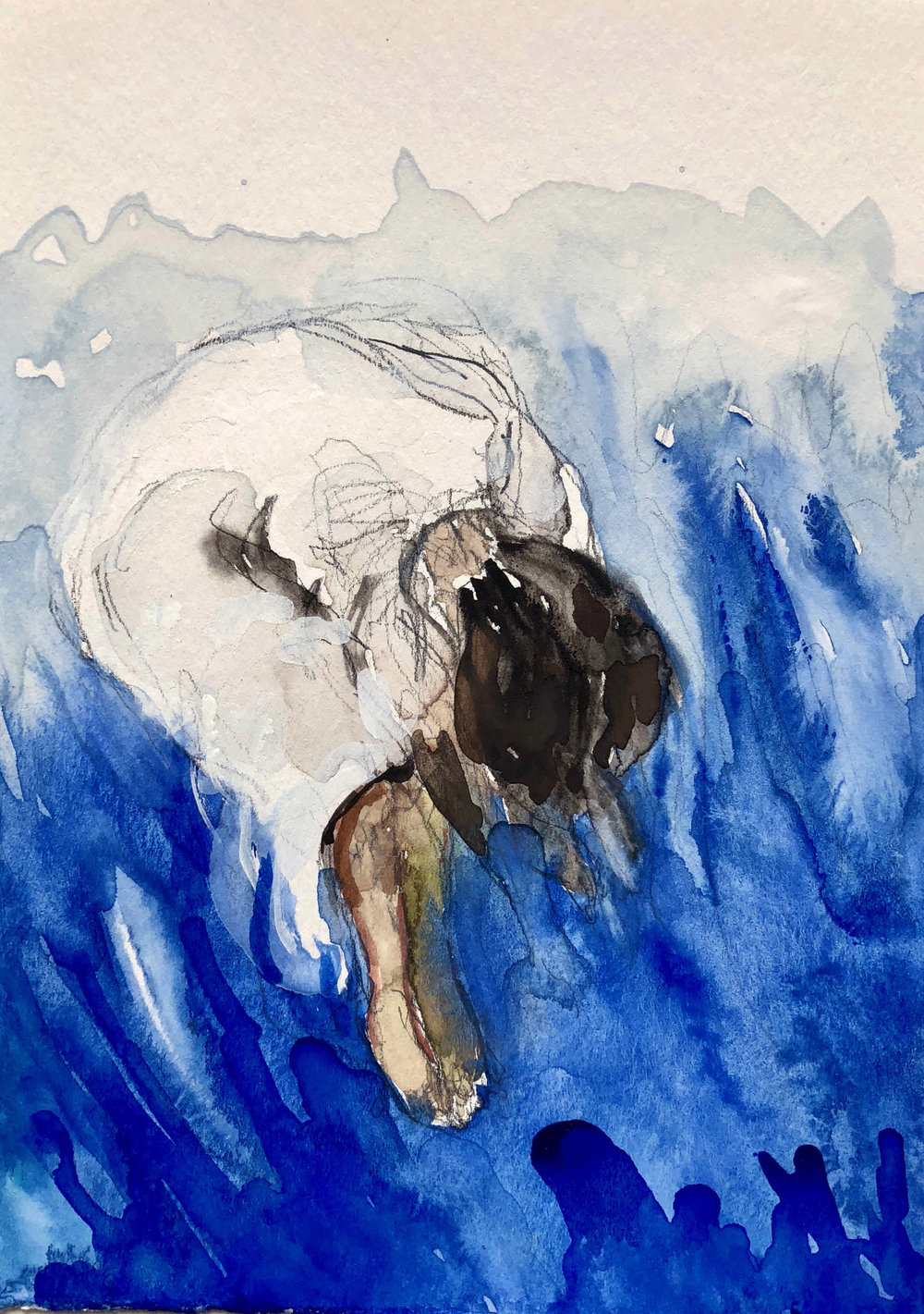 Soñador de Onda (Wave Dreamer), 2018,  Graphite and watercolor on paper, 7 1/2 x 5 in.