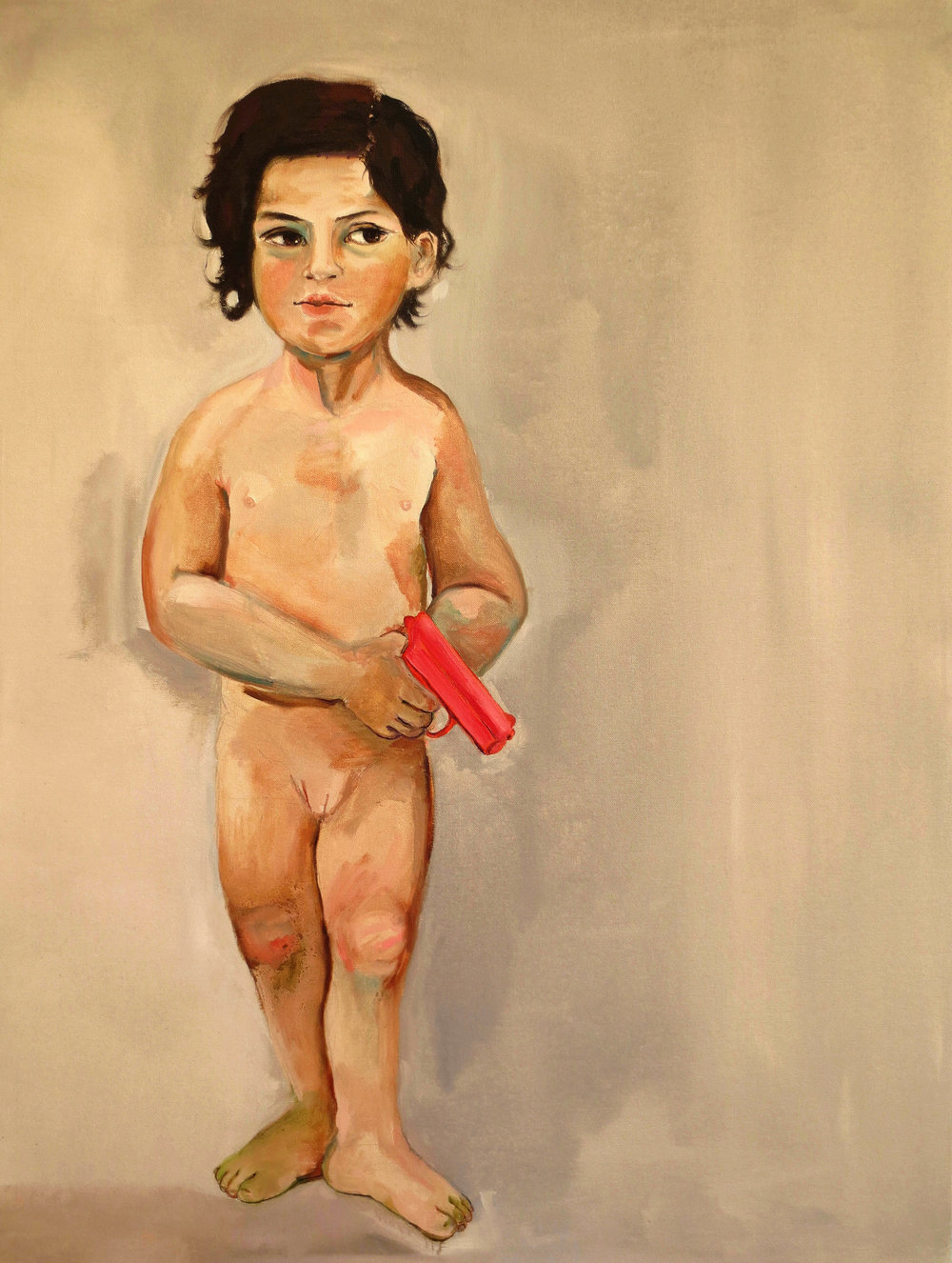 Girl with Pink Gun, 2012, Oil on canvas, 40 x 30 in.