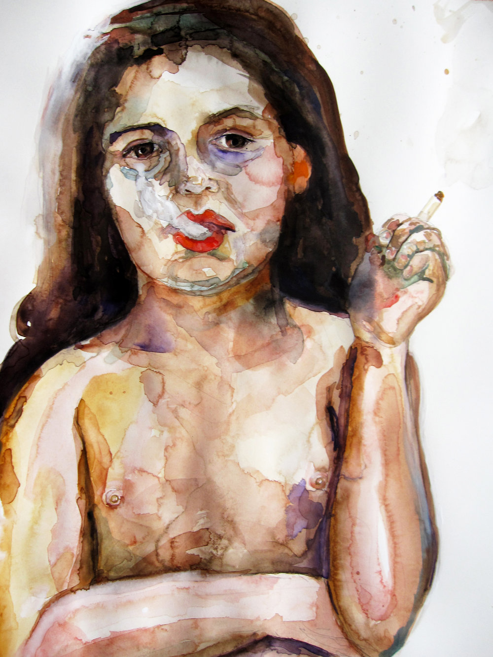 Fumando, 2010, Graphite and watercolor on paper, 30 x 22 in.