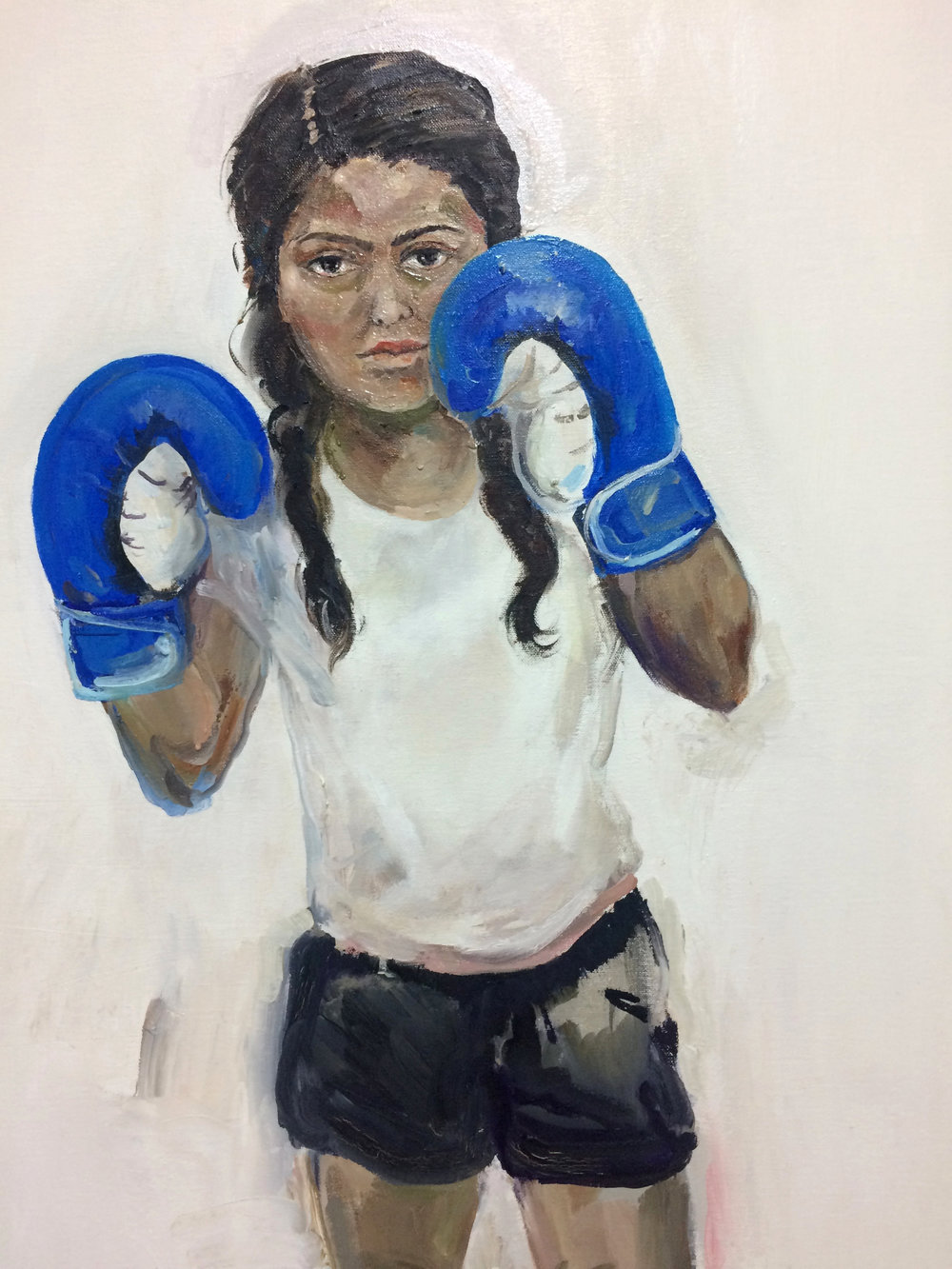 Boxer Girl (detail), 2016, Oil on canvas, 40 x 30 in.