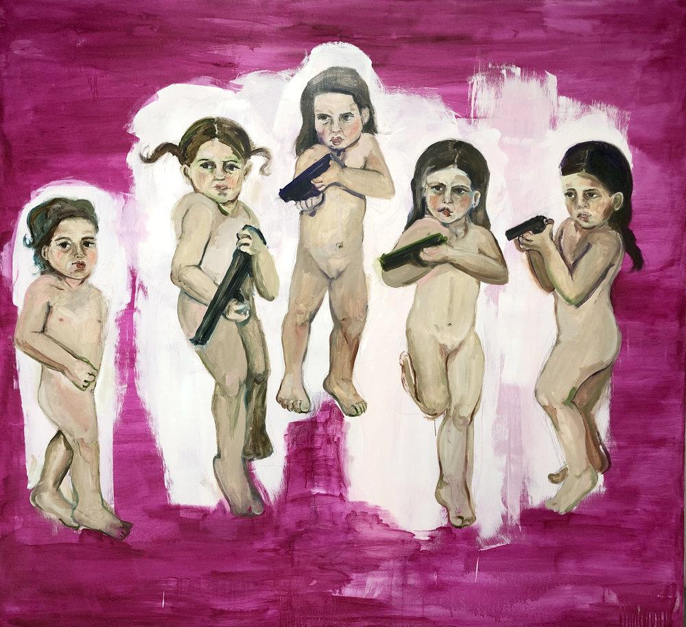 Chicas Pistorleras, 2012, Oil on canvas, 65 x 72 in.