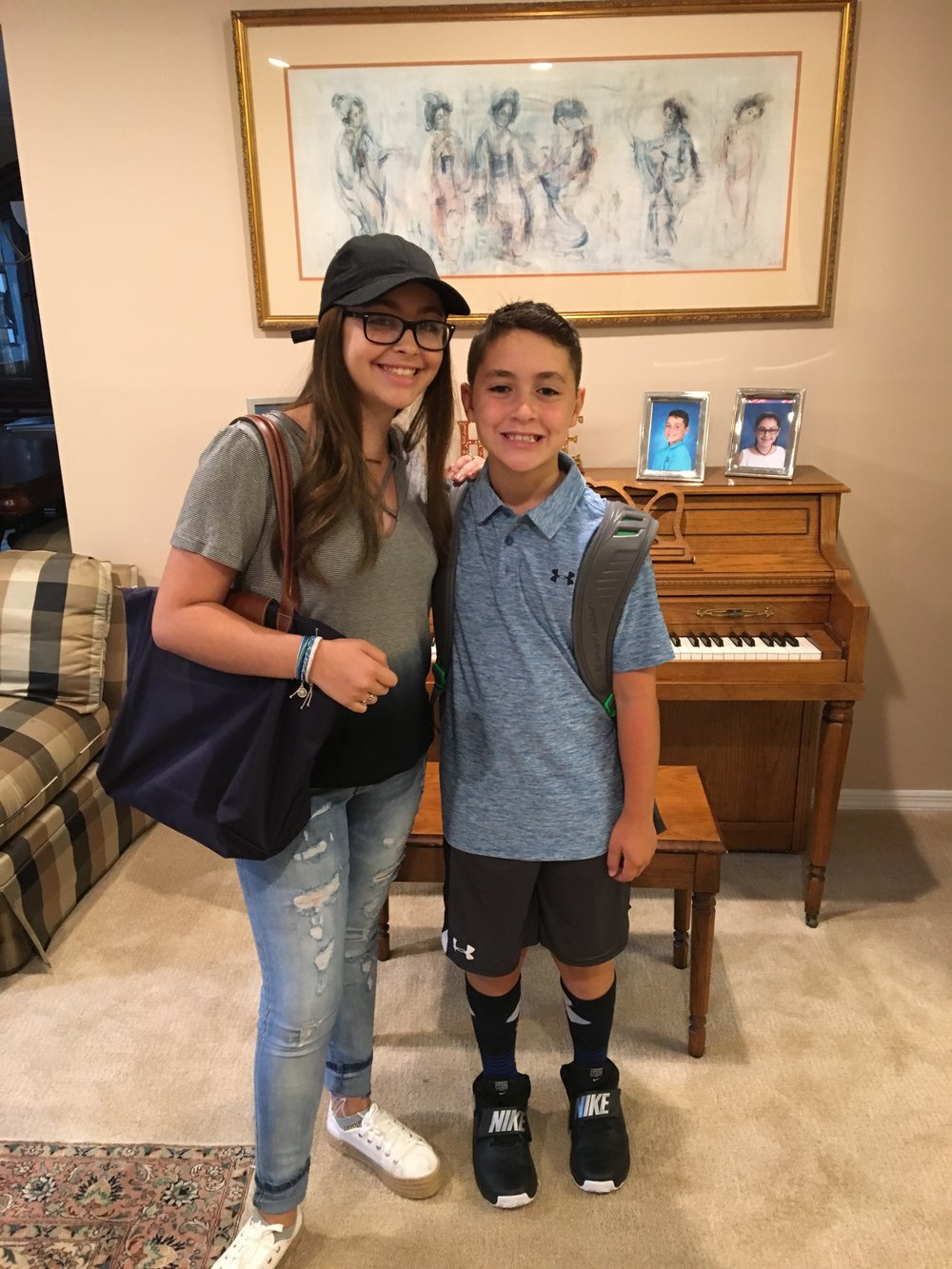 Always thinking of others, Rachel took this picture for her brother on his first day of school one day before resuming her treatment.