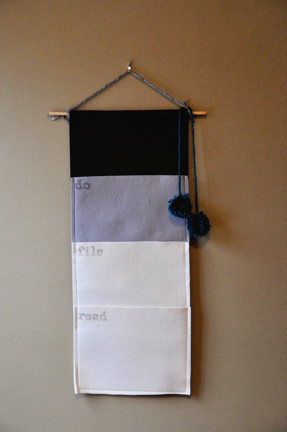 Here is my felt mail organizer with a cute little pom pom addition!