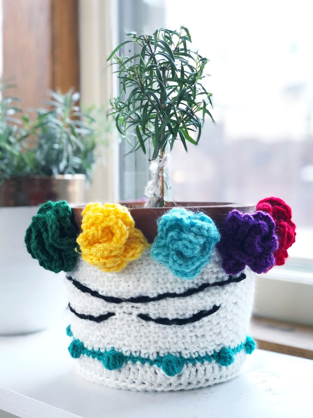 Crocheted Frída Kahlo Plant Cozy