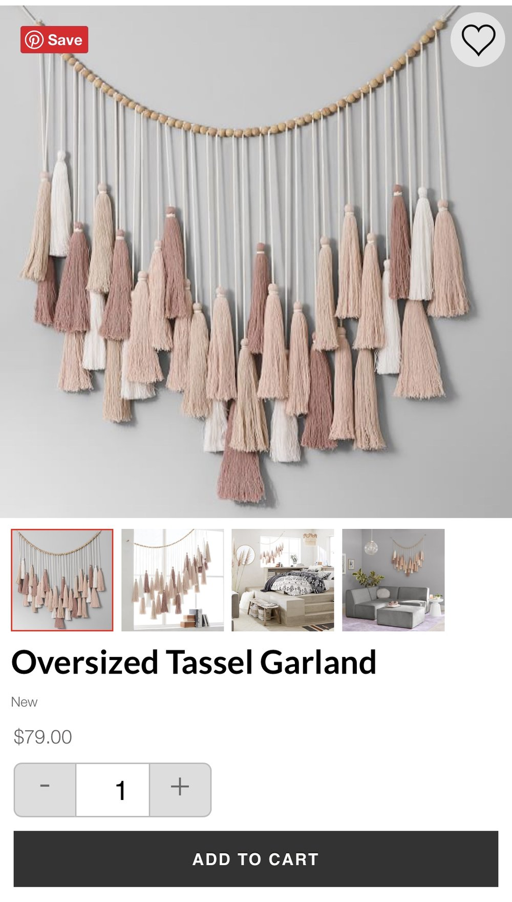 The Pottery Barn Oversized Garland that is the inspiration for my tassel garland tutorial.