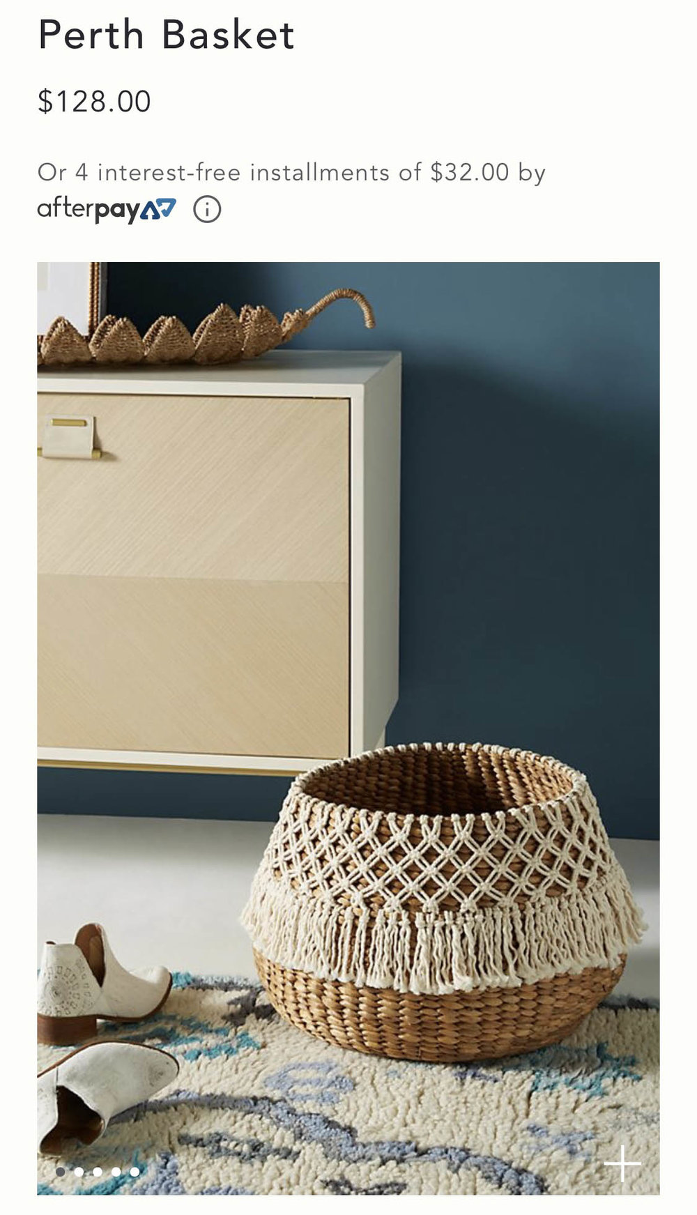 The Anthropologie basket that inspired this tutorial