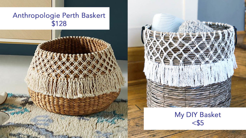 My DIY Anthropologie Hack is on the left and the top and the original Anthropologie basket is on the bottom right.