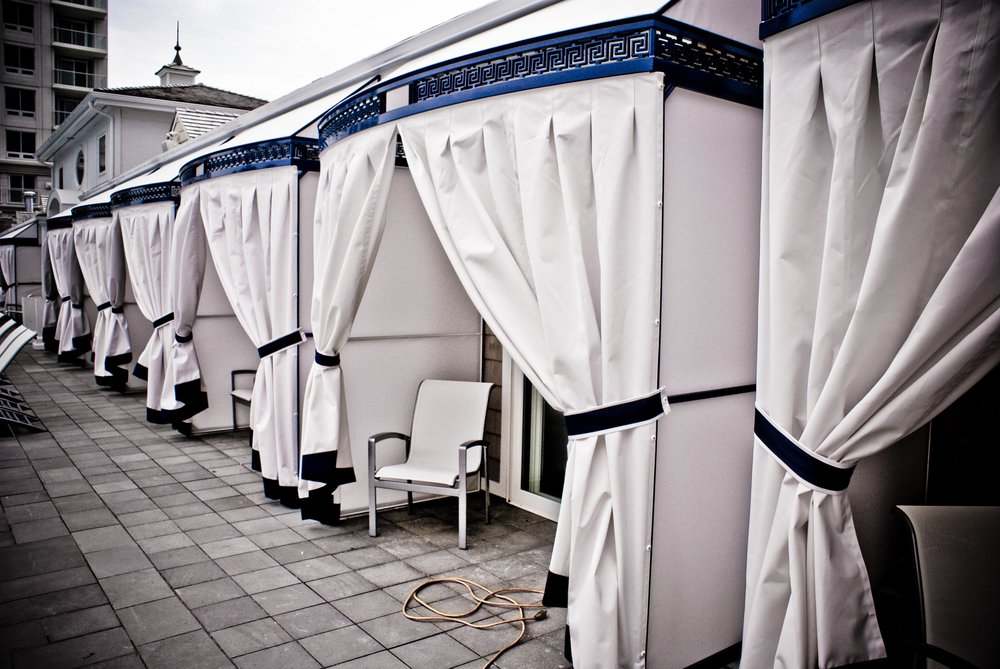 Carnegie Abbey - Custom Pool Cabanas & Drapes (Greek Key Motif)