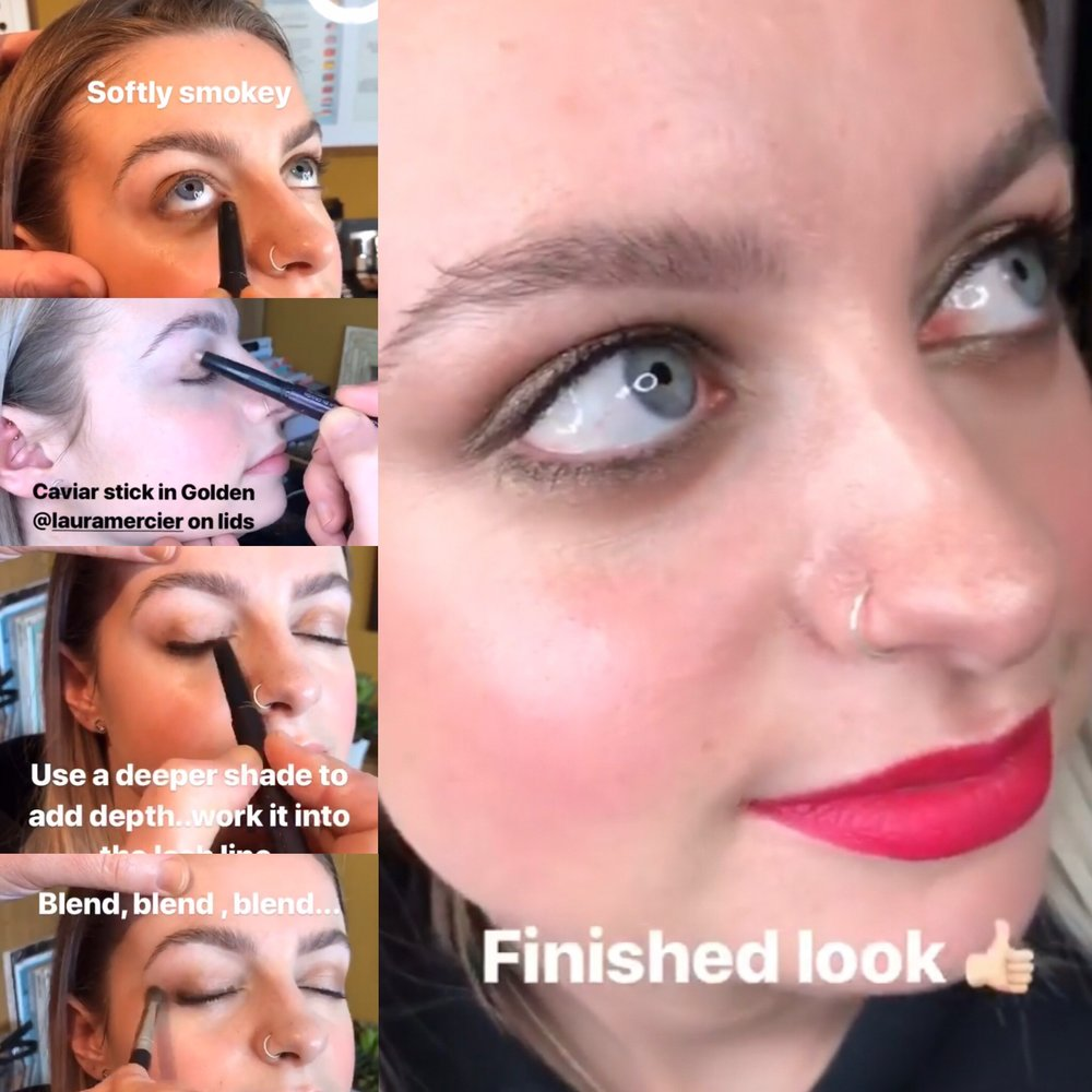 A few snaps of eye look tutorial using Laura Mercier Caviar sticks. Click link for his instagram with full tutorial in highlights.