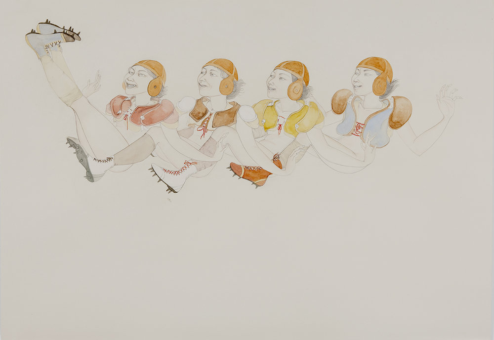 Line Drive , 2012 Graphite, watercolor, ink on ivory Fabriana Rosaspina 27 1/2 x 39 inches Photo: Bill Orcutt