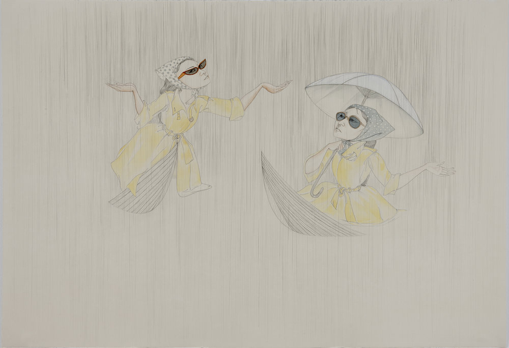 Rain Or Shine , 2012 Graphite, watercolor, ink on ivory Fabriana Rosaspina 27 1/2 x 39 inches Photo: Bill Orcutt