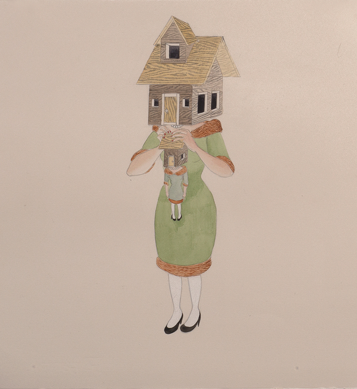 Home Maker , 2013 Graphite, watercolor, ink on ivory Fabriana Rosaspina 14 x 13.5 inches Photo: Bill Orcutt