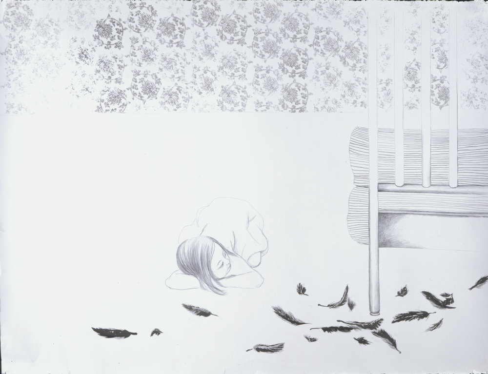 The Cat , 2004 Graphite, ink gray paper 38 X 50 inches Private collection