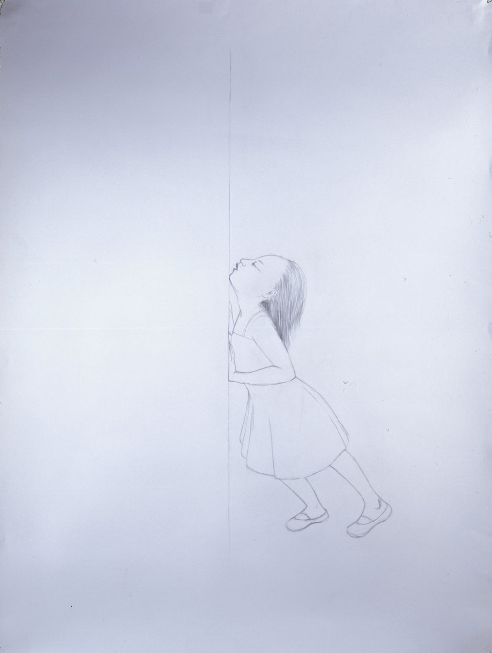 Kiss , 2005 Graphite on gray paper 50 X 38 inches Private collection