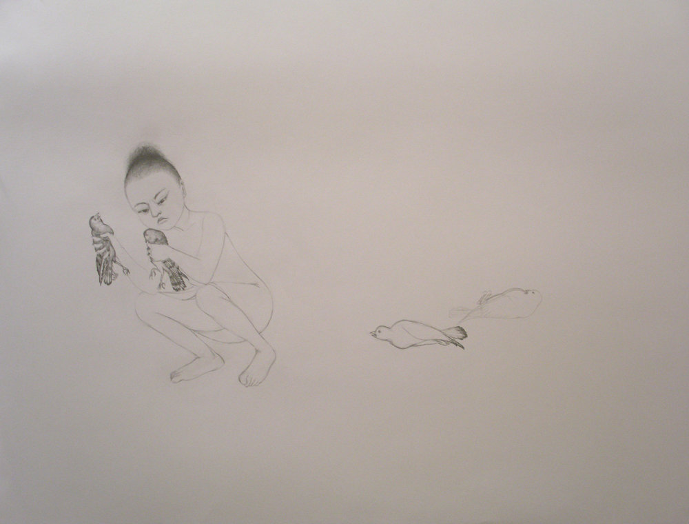 Bird In Hand , 2006 Graphite on gray paper 38 X 50 inches Private collection