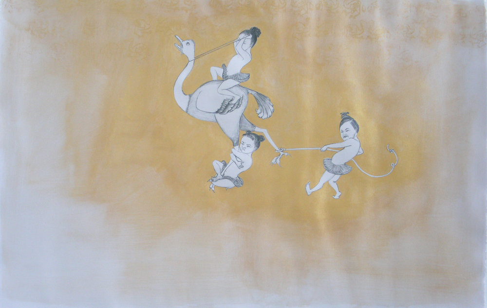 Ostrich Hunt , 2006 Graphite, watercolor, acrylic on gray paper 25 X 38 inches