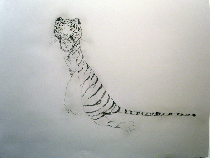 Brave Tiger , 2006 Graphite, watercolor on gray paper 38 X 50 inches Private collection
