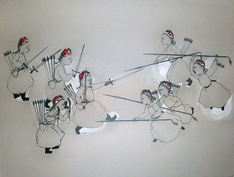 Battle , 2006 Graphite, watercolor on gray paper 19 X 25 inches Private collection