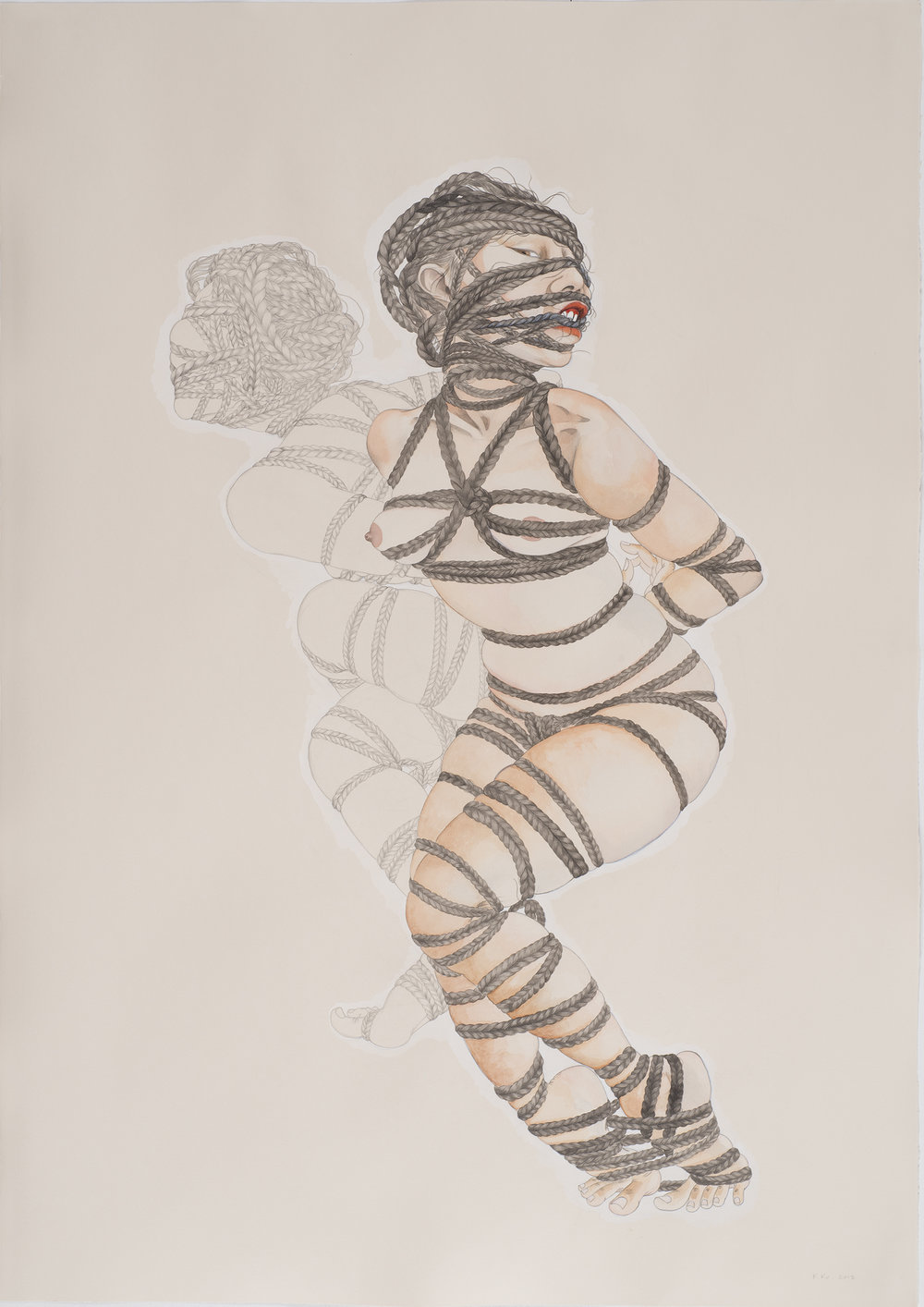 Bound , 2013 Graphite, watercolor, ink on ivory Fabriana Rosaspina 39 x 27.5 inches Photo: Bill Orcutt