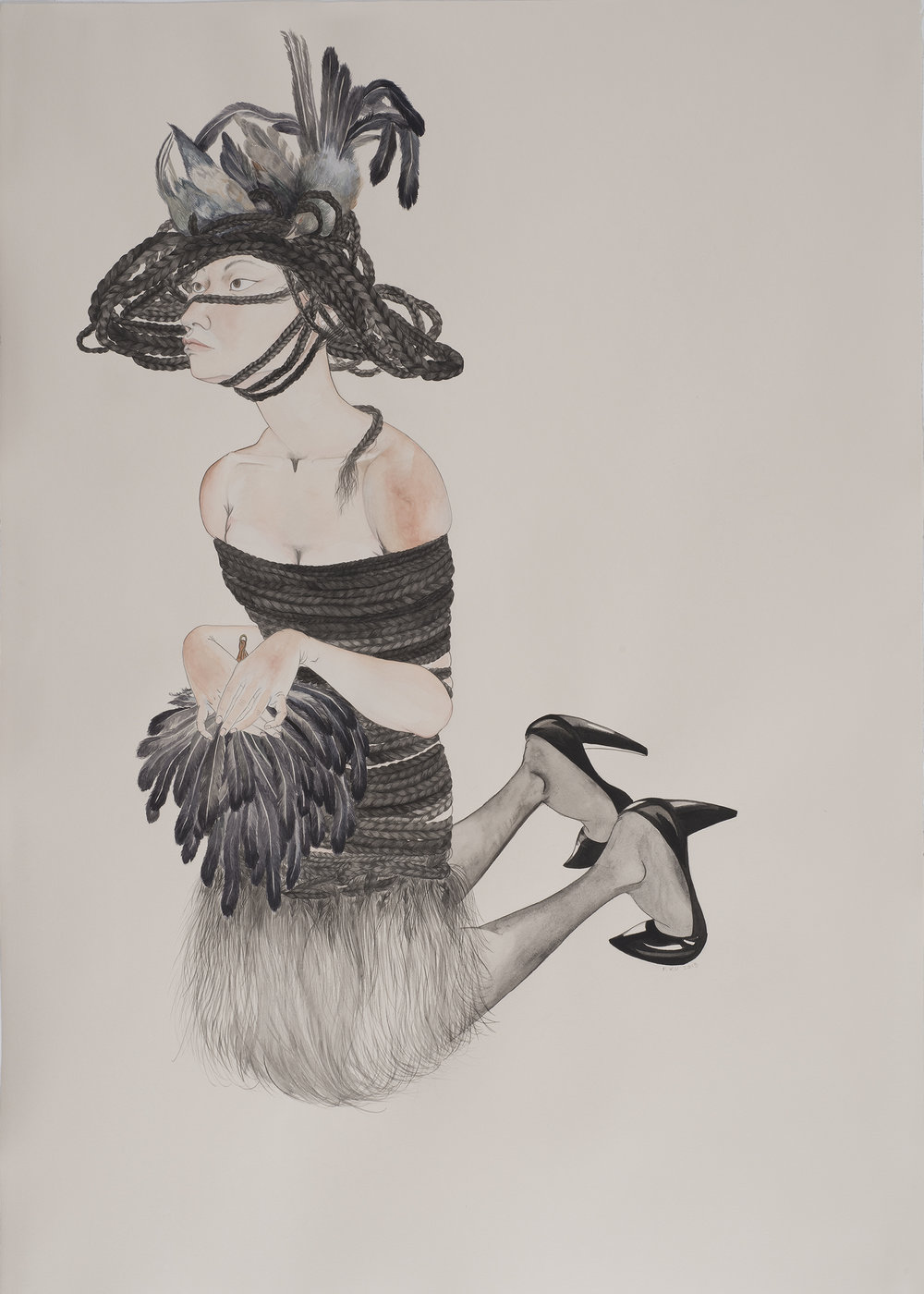 Bird Woman , 2013 Graphite, watercolor, ink on ivory Fabriana Rosaspina 39 x 27.5 inches Photo: Bill Orcutt