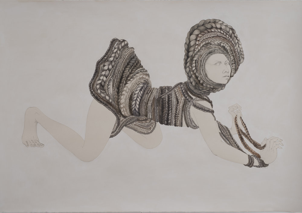 Hair Dress , 2013 Graphite, watercolor, ink on ivory Fabriana Rosaspina 27.5 x 39 inches Photo: Bill Orcutt