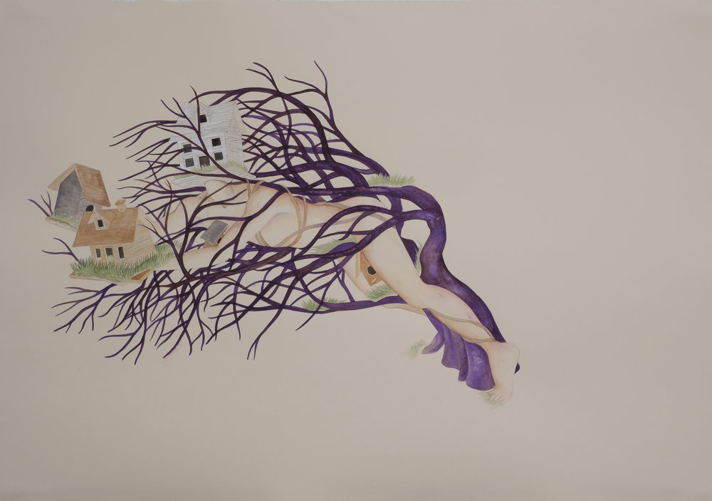 Vacancies , 2013 Graphite, watercolor, ink on ivory Fabriana Rosaspina 27 1/2 x 39 inches Photo: Bill Orcutt