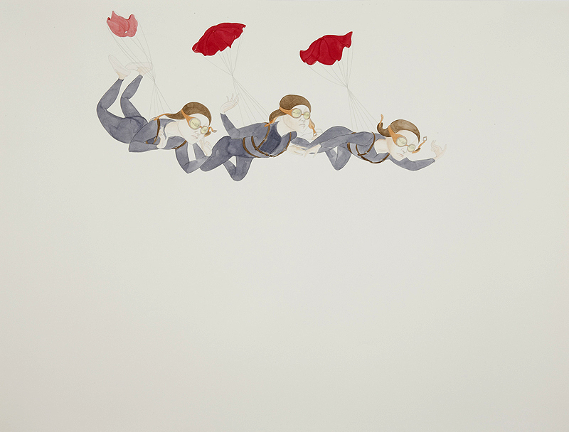 Divers , 2011 Graphite, watercolor, metallic color, ink on yellow Folio paper 38 x 50 inches Photo: Bill Orcutt