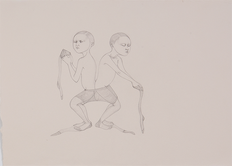 Siamese Connection , 2011 Graphite on ivory Fabriana Rosaspina 9 x 13.5 inches Private collection Photo: Bill Orcutt