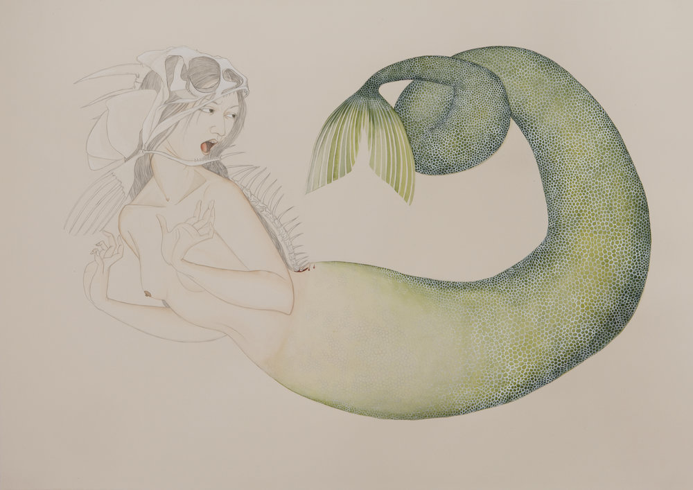 Alarmed Mermaid , 2009 Graphite, ink, watercolor on cream-colored paper 27.5 x 39 inches Private collection