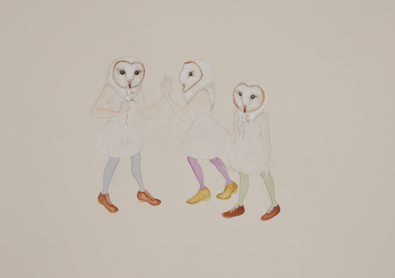 Owl Girls , 2010 Graphite, watercolor on ivory paper 27 1/2 x 39 inches Photo: Bill Orcutt