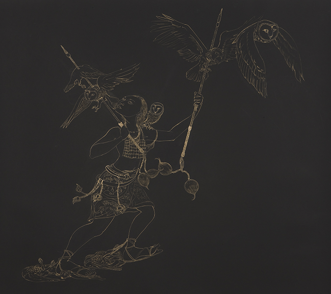 Owl Hunt , 2010 Metallic color on black Stonehenge paper 50.5 x 60 inches  Photo: Bill Orcutt