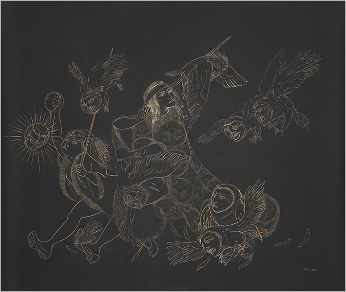 Owl Hunt II , 2010 Metallic color on black Stonehenge paper 50.5 x 60 inches  Photo: Bill Orcutt