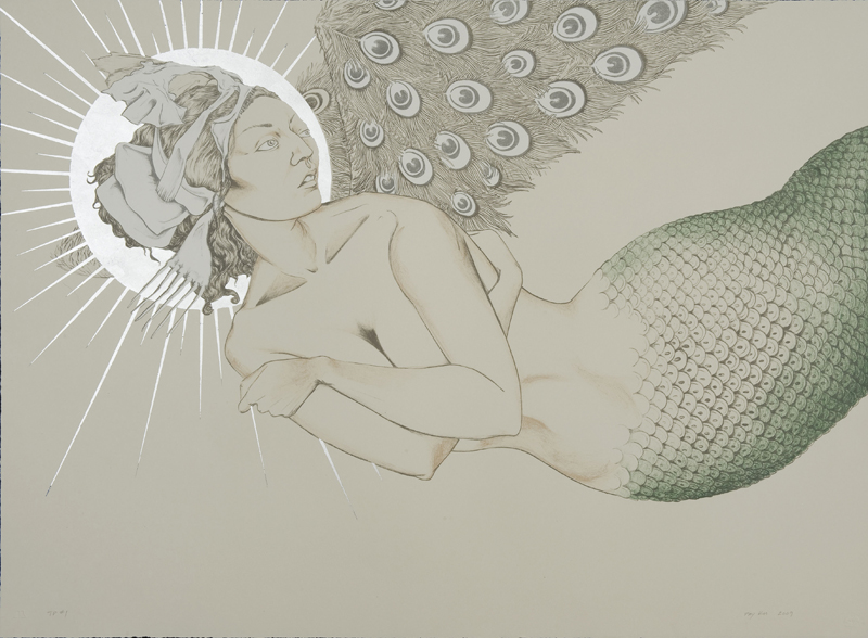 Mermaid In Flight , 2009 Six-color lithography with silver leaf  22 x 30 inches In collaboration with the Tamarind Institute/Master Printer Bill Lagattuta
