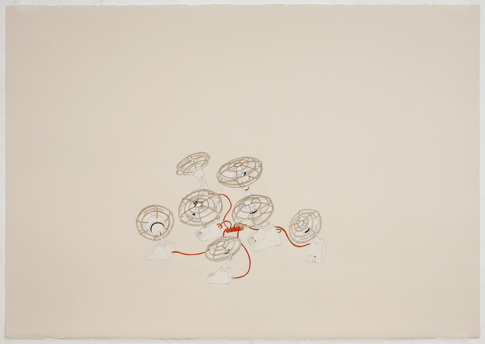 Lift , 2011 Graphite, watercolor, metallic color on Fabriana Rossapina 27.5 x 39 inches Photo: Bill Orcutt